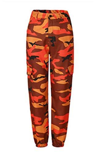Frecoccialo Pantaloni Cargo Mimetici da Donna Pantaloni Casual Esercito Militare Combattimento Stampa Mimetica (Arancione, XL)