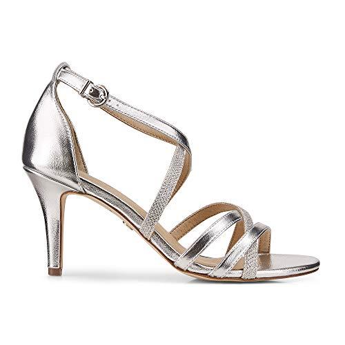 Tamaris Damen Leder-Sandalette Silber Leder 40