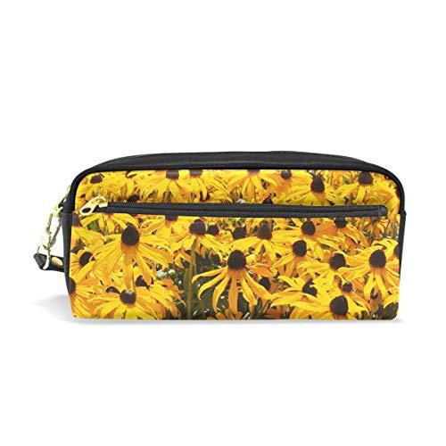 AOOEDM Federmäppchen Stilvoller Druck Sonnenhüte Blumen Gelb Gewöhnliche Sonnenhut Garden Art Pattern Große Kapazität Stifttasche Make-up-Tasche Langlebiges Studenten-Briefpapier Zwei Taschen mit dop