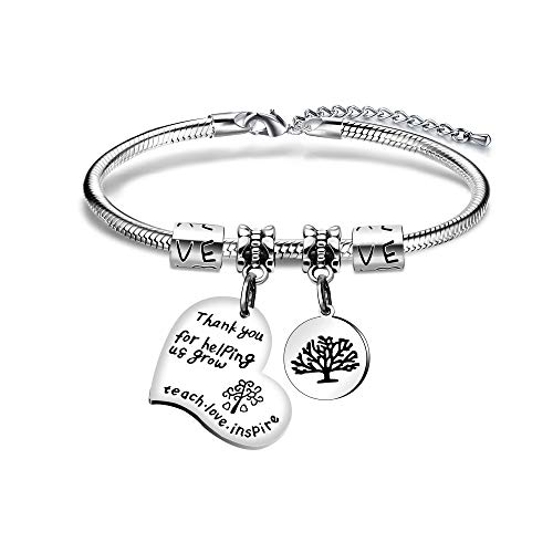 Angelra - Pulsera de regalo para mujer con colgante con grabado de plata'Thank You for Help us Grow'