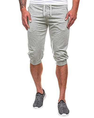 MODCHOK Men's 3/4 Jogger Pants Sport Shorts Sweatpants Elastic Capri Sweats Running Trouser Slim Fit Tracksuit Light Grey3 XL