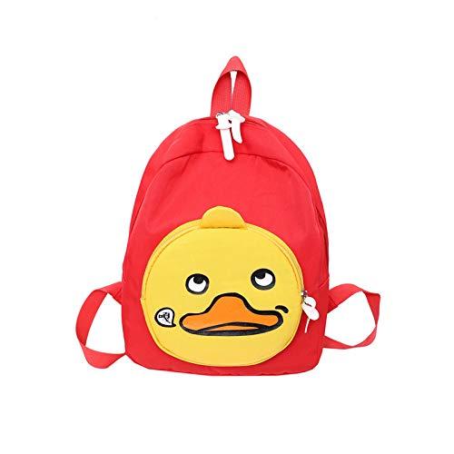 Mode kleine gelbe Ente Segeltuchrucksack einfache und Elegante Schultertasche Pip-Paket Wilde Mädchen Schulranz,rot,Free Size