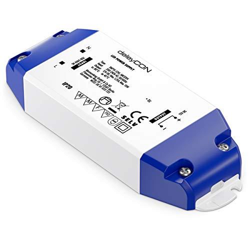 deleyCON 12V LED Transformador Adaptador 0-15W 200-240V a 12V DC LED Lámparas Cintas de Luz G4 MR11 MR16 Luces Sobrecarga Sobrecalentamiento Cortocircuito