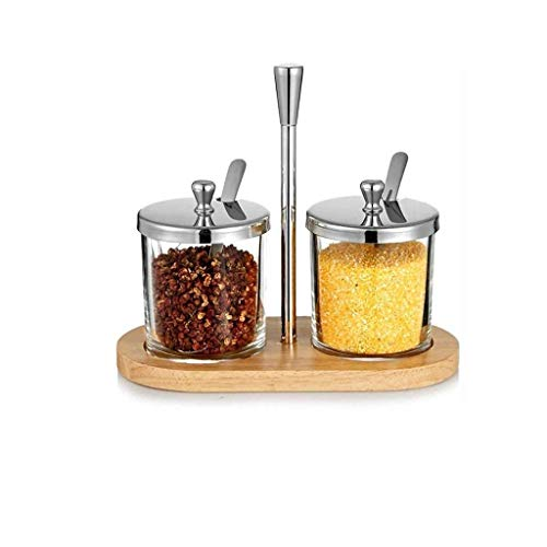 YYAI-HHJU Caja De Condimentos De Vidrio para Condimentos, Juego De Dos Frascos para Condimentos De Pimienta Y Sal Y Azúcar, Suministros De Cocina
