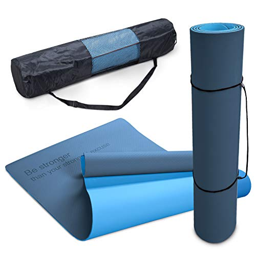Paco Home Esterilla Antideslizante Yoga Antidesgarro Lavable Dicho Motivador Azul Oscuro, tamaño:61x183 cm