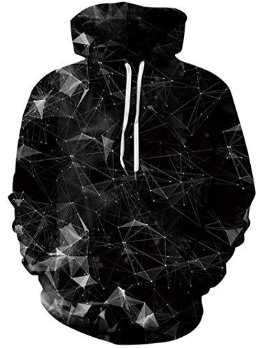 Freshhoodies Männer Hoodie 3D Geometrie Printed Casual Coole Schwarz Kapuzenpullover Lusting Slim Fit Langarm Pullover Sweatshirt M
