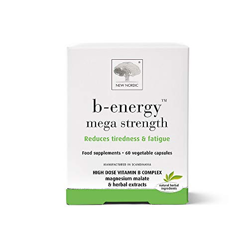 New Nordic B-Energy Mega Strength - Vitamin B Complex - 60 Capsules - Dairy and Gluten Free - Vegan Supplements - Reduce Tiredness and Fatigue - Suitable for Men and Women