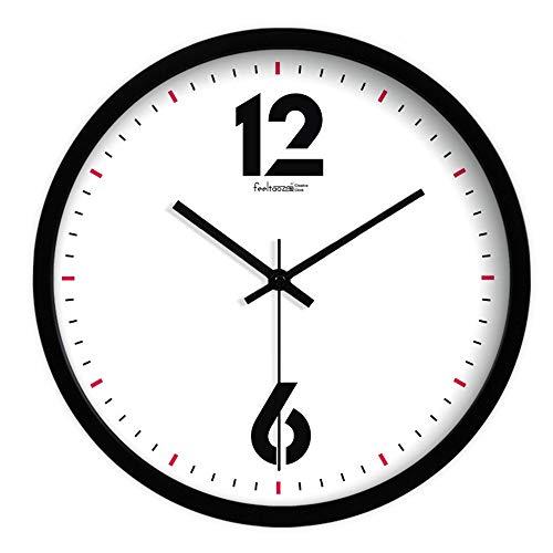 HomeClock Maison Horloge Simple Blanc et Noir Design Horloge Murale Salon Muet Horloge à Quartz