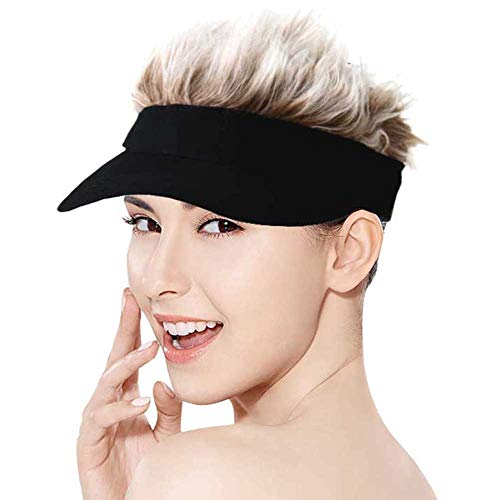 Regilt Adjustable Visor Cap with Spiked Hairs Fashion Baseball Cap Golf Hat for Men & Women (Black Brown)
