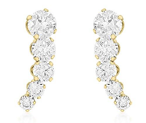 Carissima Gold Women's 9 ct Yellow Gold Cubic Zirconia 4.5 x 14.2 mm Five Stone Graduated Drop Earrings