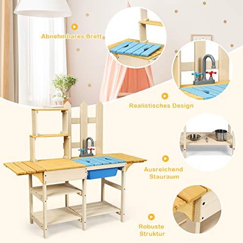 COSTWAY Matschküche mit Wasserhahn, Kinderküche Holz, Outdoor Küche, Holzküche, Spielküche, Spielzeugküche für Kinder ab 3 Jahren, 109 x 38 x 100 cm - 8