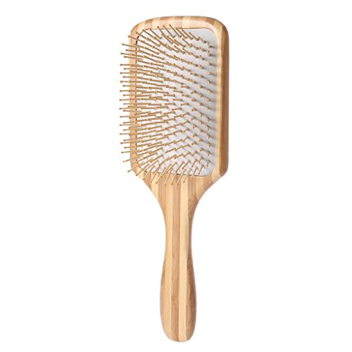 Hothap Brosse à cheveux antistatique en bambou Brosse de coiffage professionnelle pour démêler et démêler les cheveux mouillés et secs 4