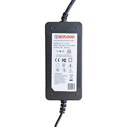 REPLOOD - Cargador de batería para Hoverboard Overboard Scooter eléctrico, 42 V, 24 W, color negro