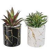 TERESA'S COLLECTIONS 2er Set Vasen mit Künstliche Pflanzen 15cm Keramikvase mit schwarzem und weißem Marmor Muster Tischdeko Balkon Büro Deko für Wohnzimmer, Küche als Mutter Geschenk