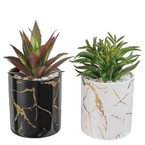 TERESA S COLLECTIONS Vasi con Piante Artificiali Set di 2 Vaso in Ceramica da 15 Cm con Strisce Verticali Bianche e Nere Decorazione da Tavola Balcone Decorazione da Ufficio per Soggiorno