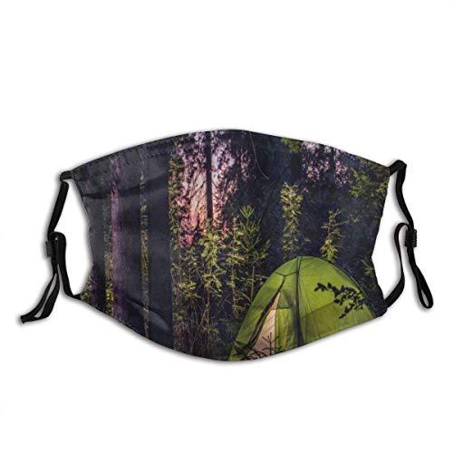 Camper Dark Forest a última Hora de la Tarde con abetos y Cielo púrpura Carpa de Estilo de Vida al Aire Libre para Mujeres y Hombres Antipolvo Ajustable Reutilizable Tela Lavable