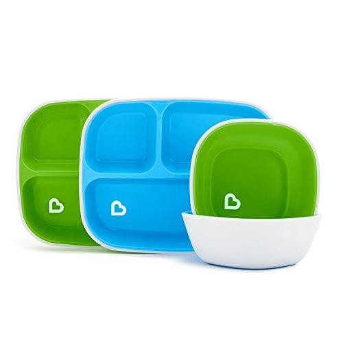 Munchkin Splash Kinderteller und Schalen-Set, blau/grün, 4-teilig