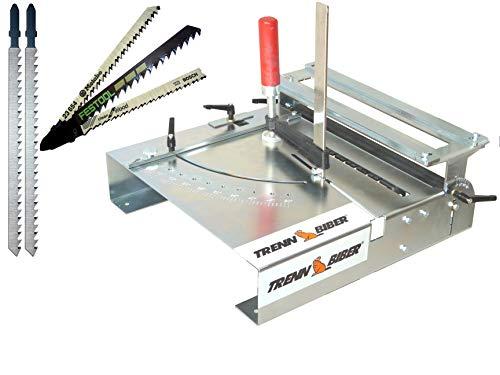 Laminatschneider Bundle Trenn-Biber 012L-2 + Sägeblätter von Metabo Bosch Festool +2 lange T-Schaft Stichsägeblätter für Stichsägen - Sägetisch,