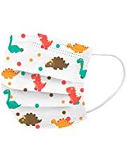 50Pcs Cute Dinosaur Printed Kids Disposable_Face_Masks 3 Layer Face Protection Against Droplet Anti-Particle and Dust Breathable Mouth Nose Cover Unisex (C)