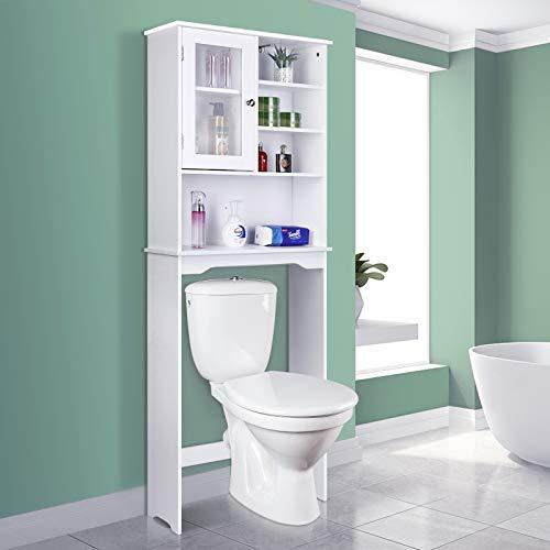 amzdeal Bathroom Shelf Over-The-Toilet, Space Saver Bathroom Cabinet Organizer, Bathroom Storage with Adjustable Shelves (White)