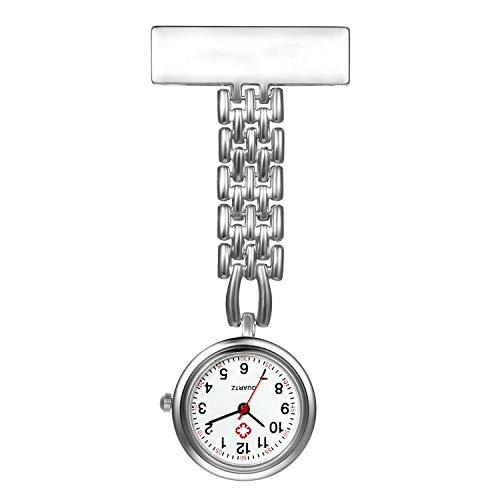LANCARDO Reloj de Bolsillo Médico Colgante Metal Prendedor Broche Cuarzo Original con Clip Uniforme Paramédico Regalo Gracias Doctor Enfermera Mujer Chica Niña, Plata