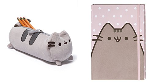 Pusheen GUND Tabby Cat Accessory Case Bundle with Pink Polka Dot Notebook, School Accessories Set for Students Teens Boys and Girls