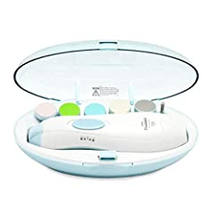 Safer baby nail file that won't damage cuticles or soft nail beds, you can safely and quickly trim and polish little toenails and fingernails Whisper-quiet operation boasting an LED front light and whisper-quiet motor, you can trim their nails while ...