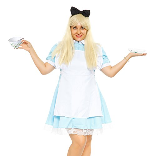 3Tlg. Karneval Fasching Kostuem Damenkostuem Alice Kostuem Fancy Dress Outfit Maid Cosplay, Blau, XL