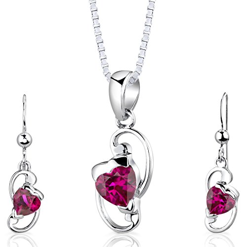 Peora Sterling Silver Heart Shape Created Ruby Pendant Earrings and 18 inch Necklace Set