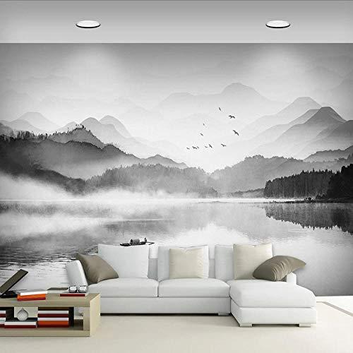 3d Tapete Schwarz-Weiß-Tinte Bergseewasser Fototapete Vlies Wand Tapete Wandbilder 450x300 cm -9 Stück Tapete Wohnzimmer Schlafzimmer Kinderzimmer Dekoration Moderne Wanddeko