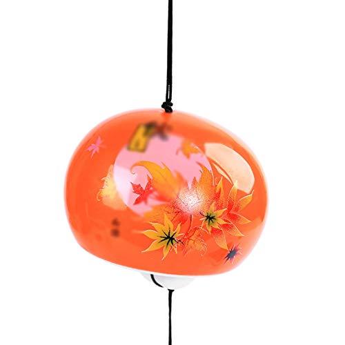 JHEY Draußen Nette Keramik Vier Jahreszeiten Windspiel Schmuck Kreative Tür Schmuck Anhänger Student Geschenk Mädchen Schlafzimmer Dekoration Bambus (Color : Orange, Größe : 35cm)
