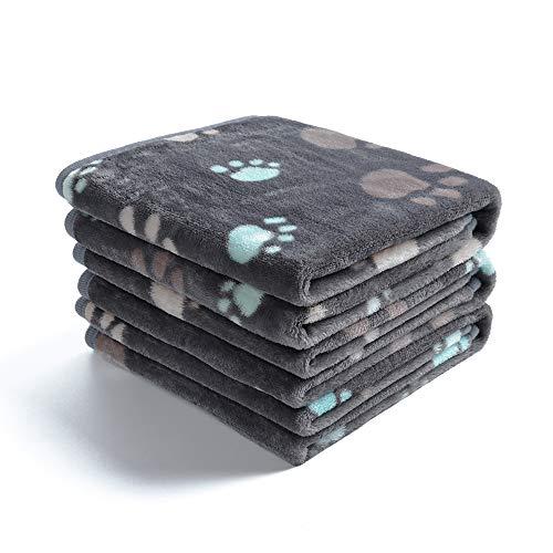 1 Pack 3 Decken Super Weich Fluffy Premium Fleece Haustier Decke Flanell Wurf für Hund Welpen Katze Grau Pfote,Large (104 * 76cm)