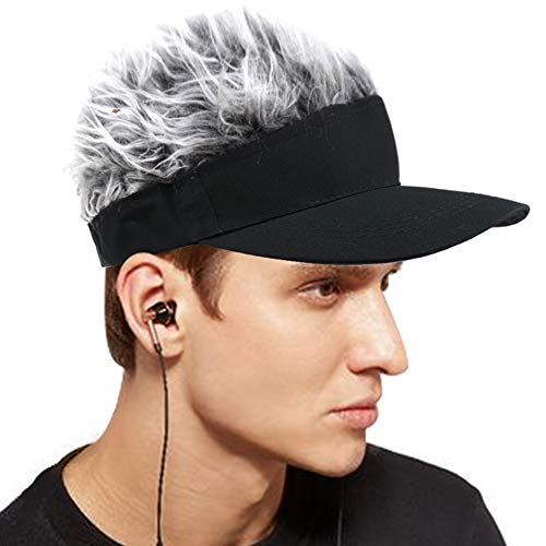 Cobrays Unisex Adjustable Visor Sun Cap with Fake Hair Fashion Wig Baseball Cap Golf Hats (Black-Gray)