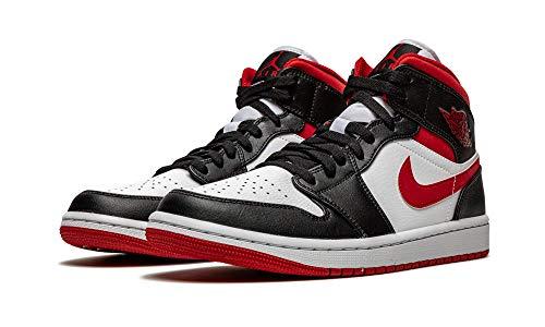 Nike Air Jordan 1 Mid, Zapatillas de bsquetbol Hombre, White Gym Red Black, 44 EU