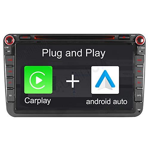 "Android 10 Carplay+Android Auto Dual-Tuner Autoradio 2G+32GB Rohm-DSP 8"" DVD GPS Navigation Bluetooth 5.0 DAB+ Wifi für VW Passat Golf 5 6 Polo Touran Tiguan Multivan Transporter T5 Skoda Octavia"