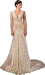Champagne V-Neck Sleeveless Lace Backless Sequins Rhinestones Wedding Dress