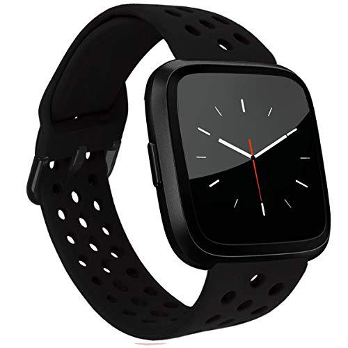 MroTech Compatible con Fitbit Versa Correa/Fitbit Versa Lite Edition Correa/Fitbit Versa 2 Correa, Pulsera de Repuesto de Silicona para Fit bit Versa/Versa2 Smartwatch Banda para Mujer y Hombre,Negro