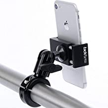 Metal Motorcycle Mount for Phone - by TACKFORM [Enduro Series] - NO SLINGS NEEDED. Rock solid holder for Regular and Plus sized iPhone and Samsung devices. Industrial Spring Grip