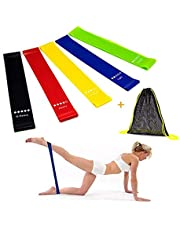 Resistance Bands Exercise Bands for Woman Yoga Resistance Loop Bands for Legs and Butt Workout Bands for Home GYM Fitness 5 Set with Bag