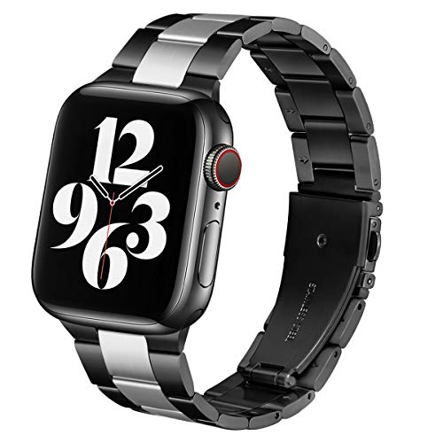 Steel Band Compatible with Apple Watch Bands 44mm 42mm, Business & Leisure Upgraded Stainless Steel Metal Solid Replacement Strap for iWatch Series 6/5/4/3/2/1 & SE Men and Women - Black / Silver