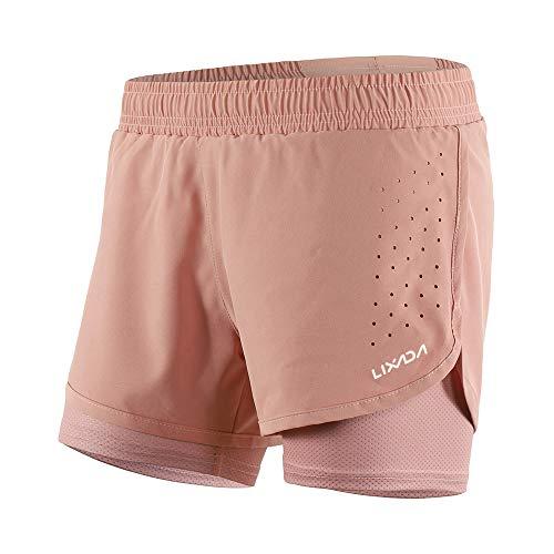 Lixada 2-in-1-Laufhose für Damen Schnell trocknend Atmungsaktiv Aktiv-Training Jogging-Radsport-Shorts mit längerem Innenschuh