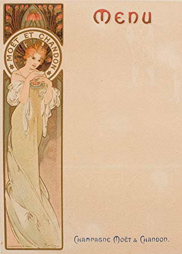 Vintage bieren, wijnen en sterke drank 'Moet and ChandonMenukaart' door Alphonse Mucha, 1897, 250gsm Zacht-Satijn Laagglans Reproductie A3 Poster