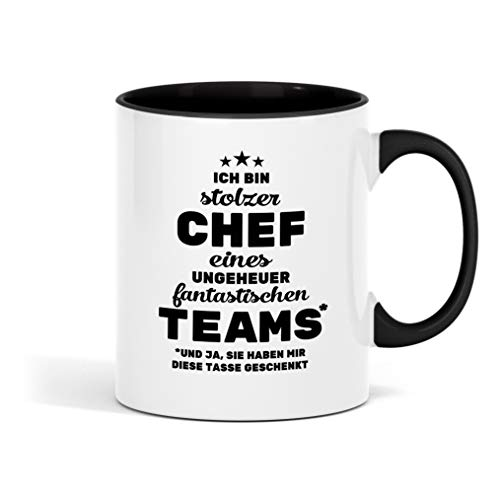 Ich bin stolzer Chef eines ungeheuer fantastischen Teams bedruckte Tasse - lustige Kaffeetasse mit Sprüchen - die perfekte Geschenkidee für Familie, Freunde & Kollegen - große Kaffeetasse fürs Büro