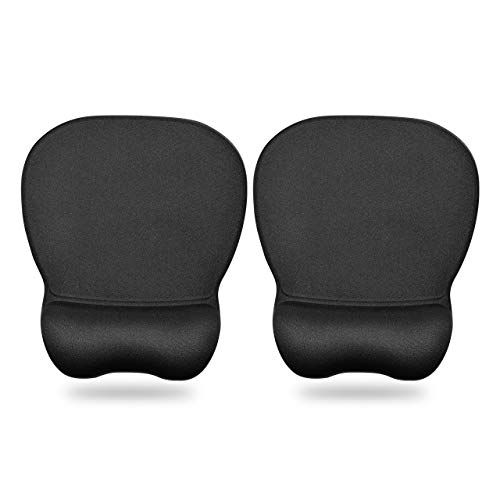 HONGDE Ergonomic Mouse Pad with Wrist Support Gel Mouse Pad,Comfortable Computer Mouse Pad for Laptop, Pain Relief Mousepad with Non-Slip PU Base for Office & Home, 2 Pack, 9.2 x 8.1in, Black