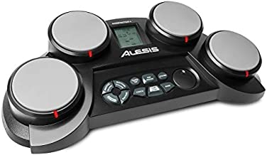 Alesis Compact Kit 4 – Tabletop Electric Drum Set with 70 Electronic / Acoustic Drum Kit Sounds, 4 Pads, Battery- or AC-Power and Drum Sticks Included