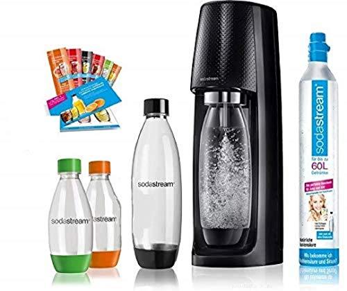 SodaStream Easy Wassersprudler-Set Vorteilspack mit CO2- Zylinder, 2x 1 L PET-Flasche, 2x 0,5 L PET-Flasche, 6x Sirupproben, schwarz