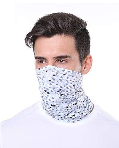 YOINS Kopftuch Herren & Damen Atmungsaktiv Schnelltrocknend Wind Face ShieldMotorrad Gesicht Mundschutz Maske Mund-Tuch Halsschlauch Halstuch Kariert-Weiß 24 x 45 cm