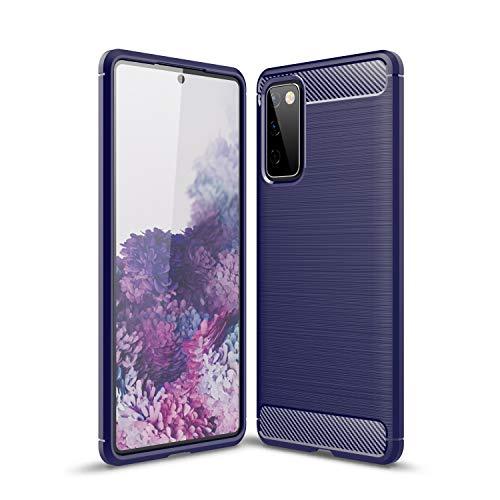 NEINEI Funda para Samsung Galaxy S21 Plus,Carcasa Silicona de Fibra de Carbono,Diseño Sensación Metálica,Ultradelgado TPU Outdoor Shockproof Case Cover-Azul
