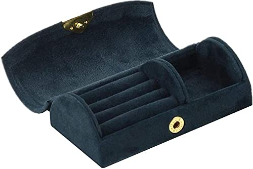 Jewlerys Box - Joyero de viaje para niñas, color rosa, caja de almacenamiento pequeña para joyas, para mujer, caja de joyería personalizada, color rosa, talla única, azul marino, talla única