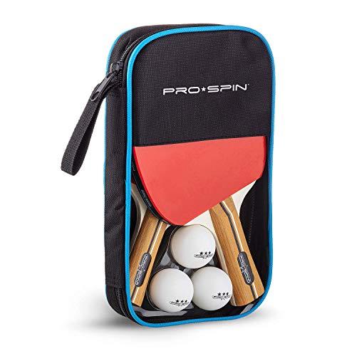 Pro Spin Palas de Ping Pong, Set de Alto Rendimiento - Palas de Tenis de Mesa, Pelotas de Ping Pong 3*, Caja de Almacenamiento - Set de 2 Palas de Ping Pong - Mesa de Ping Pong Exterior, Interior